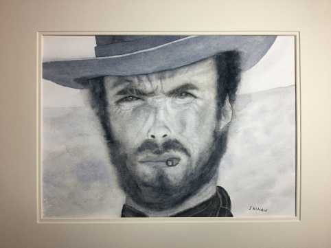 Clint Eastwood in watercolour. 1/4 imperial. £50. Contact me for exact size and postage costs.